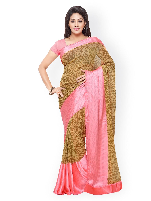 subhash sarees Brown & Pink Georgette Printed Saree
