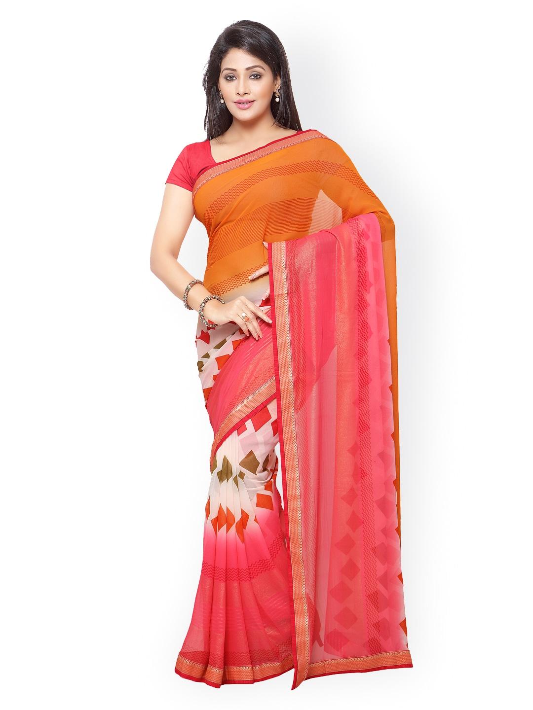 subhash sarees Orange & Red Georgette Printed Saree