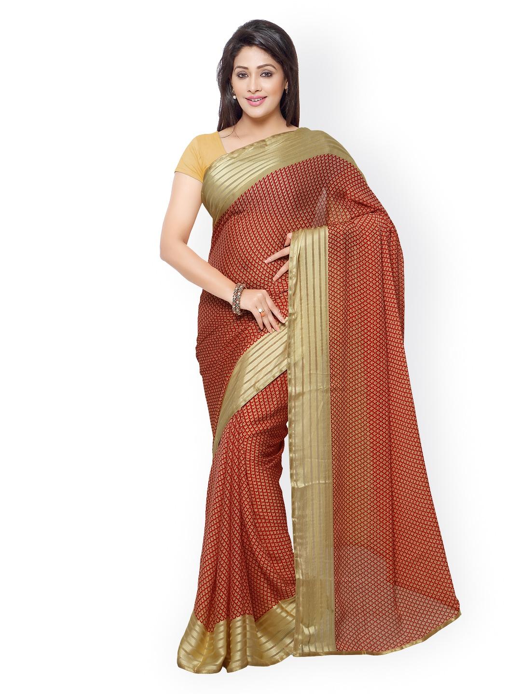 subhash sarees Red & Beige Georgette Saree