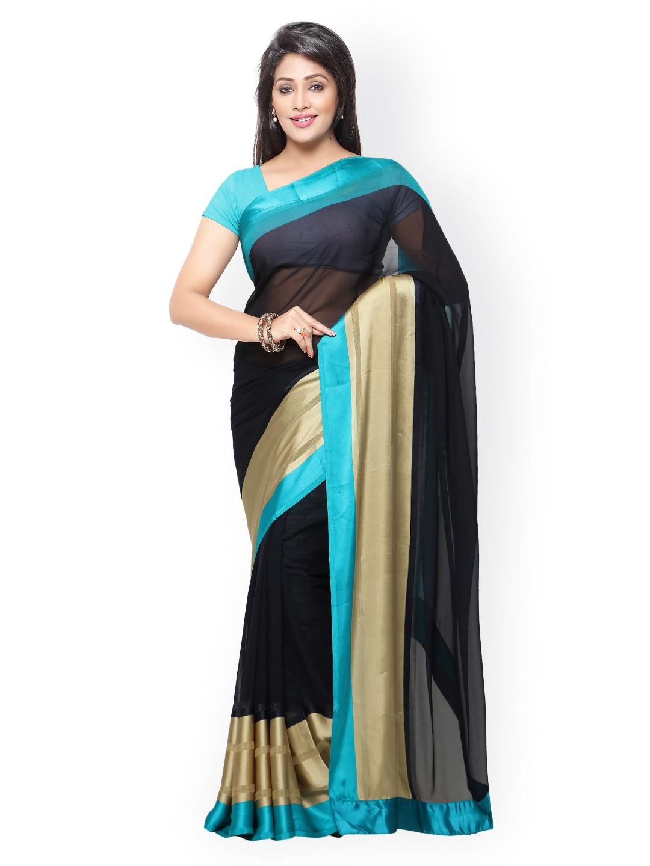 subhash sarees Black & Beige Georgette Saree