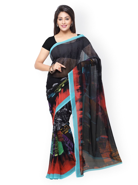 subhash sarees Black Georgette Printed Saree