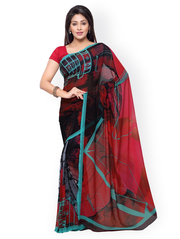 subhash sarees Red & Black Georgette Printed Saree