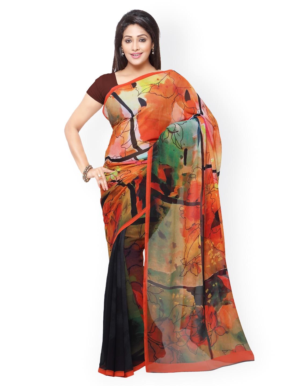 subhash sarees Orange & Red Georgette Floral Print Saree