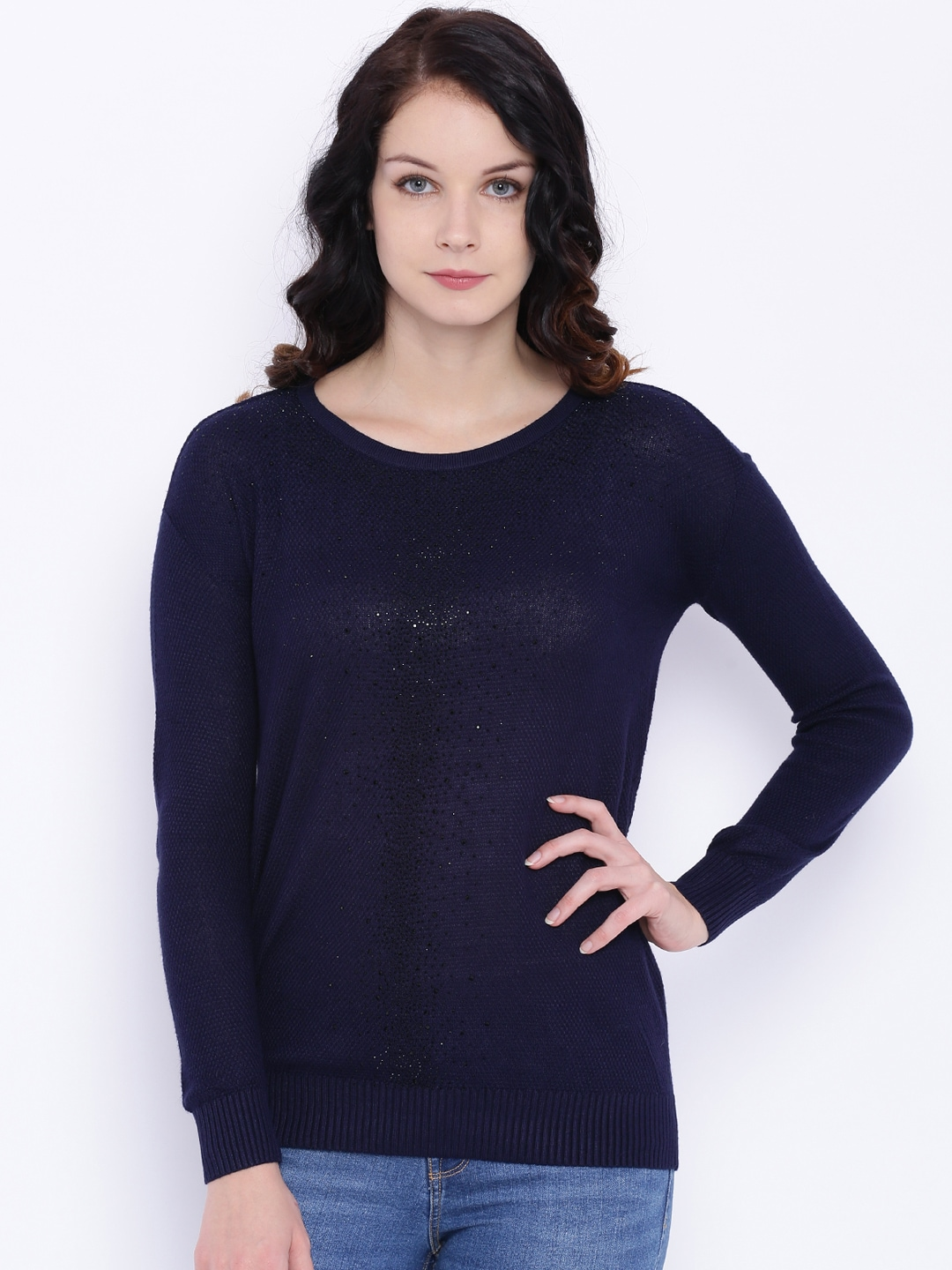 Deal Jeans Women Navy Blue Embellished Top