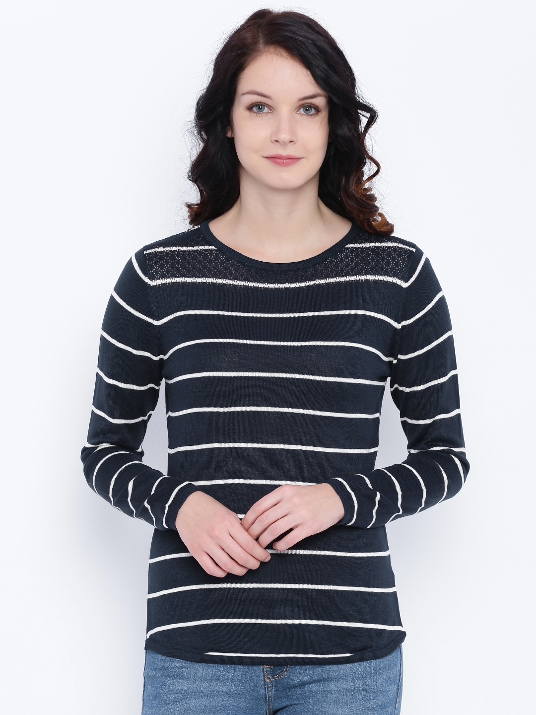 Deal Jeans Women Navy Blue Striped Top