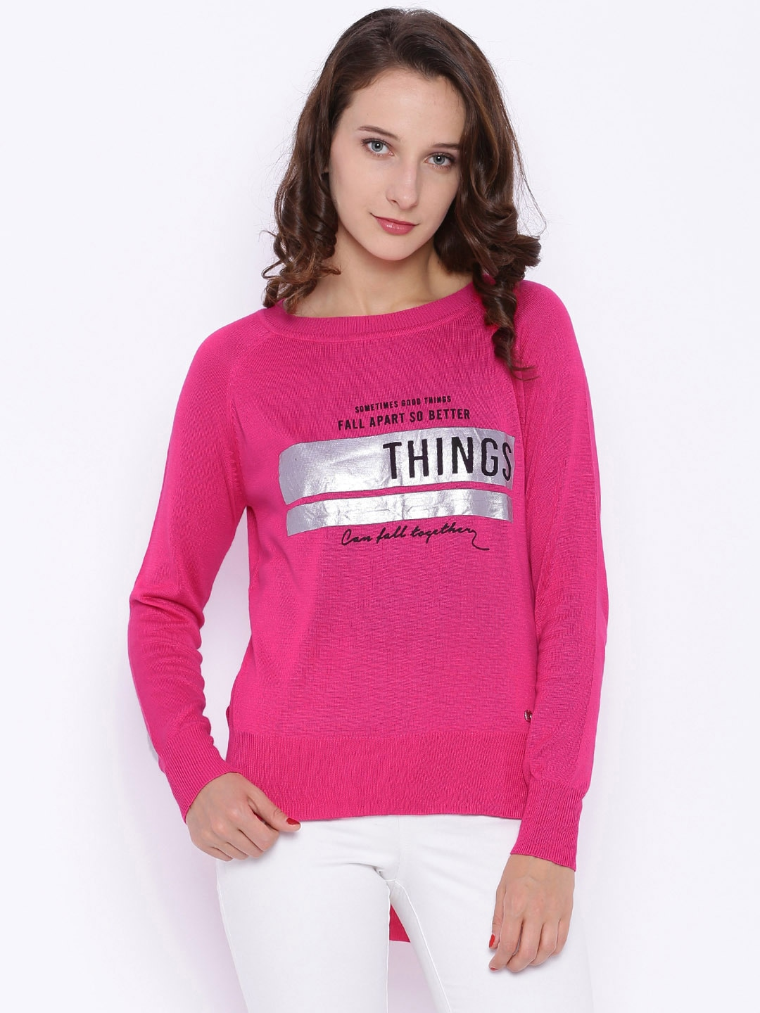 Deal Jeans Women Pink Printed Top
