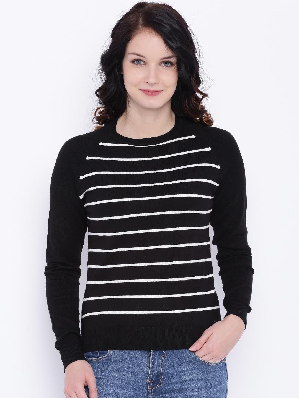 Deal Jeans Women Black Striped Top