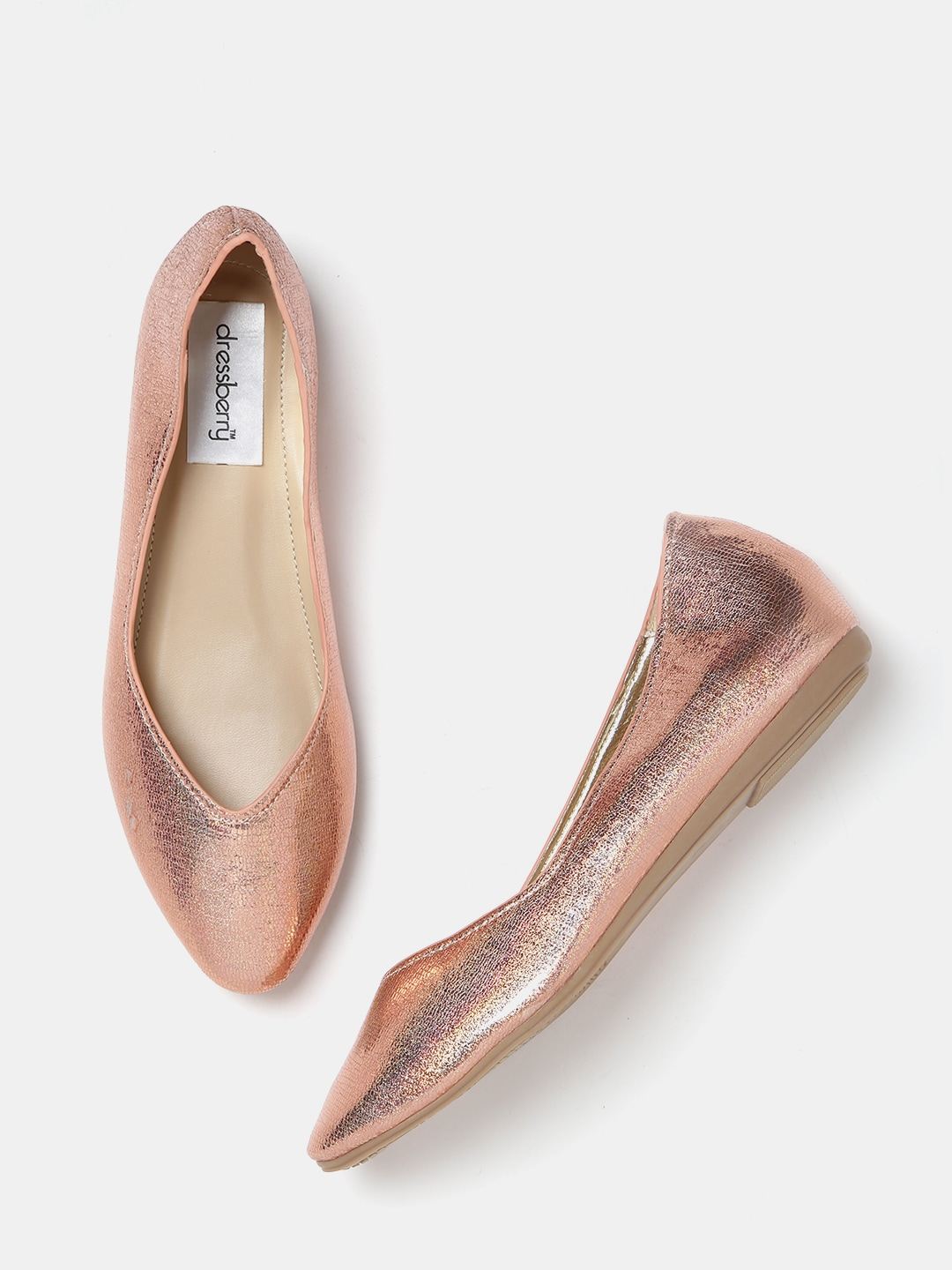 Buy DressBerry Women Gunmetal Toned Shimmer Pointy Ballerinas - Flats for  Women | Myntra