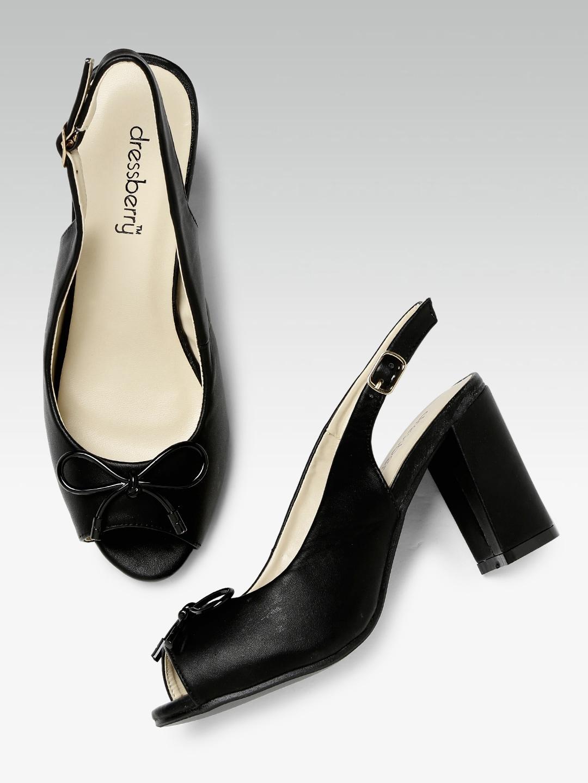 DressBerry Women Black Solid Peep-Toe Heels