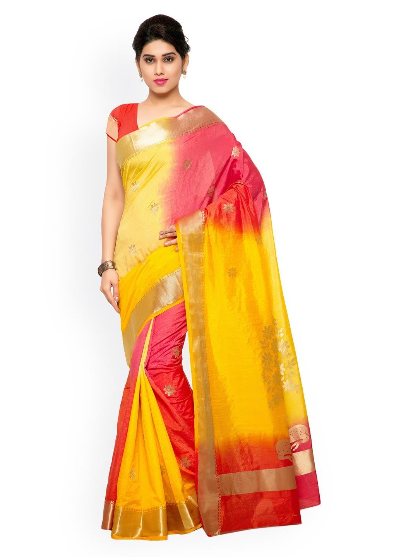 Varkala Silk Sarees Yellow & Red Kanjeevaram Art Silk & Jacquard Traditional Saree