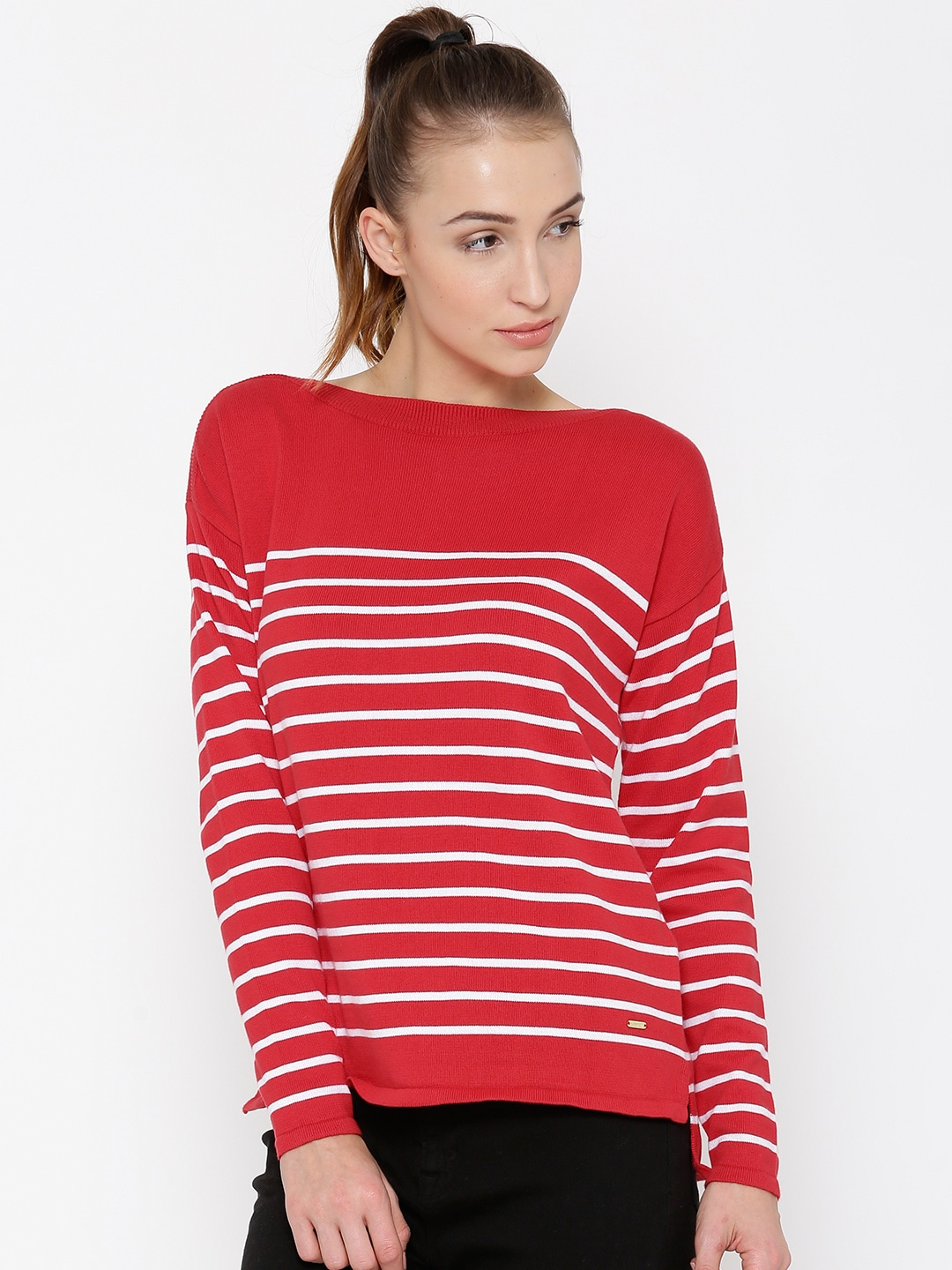 Red and White Striped Sweater Women | Dress images