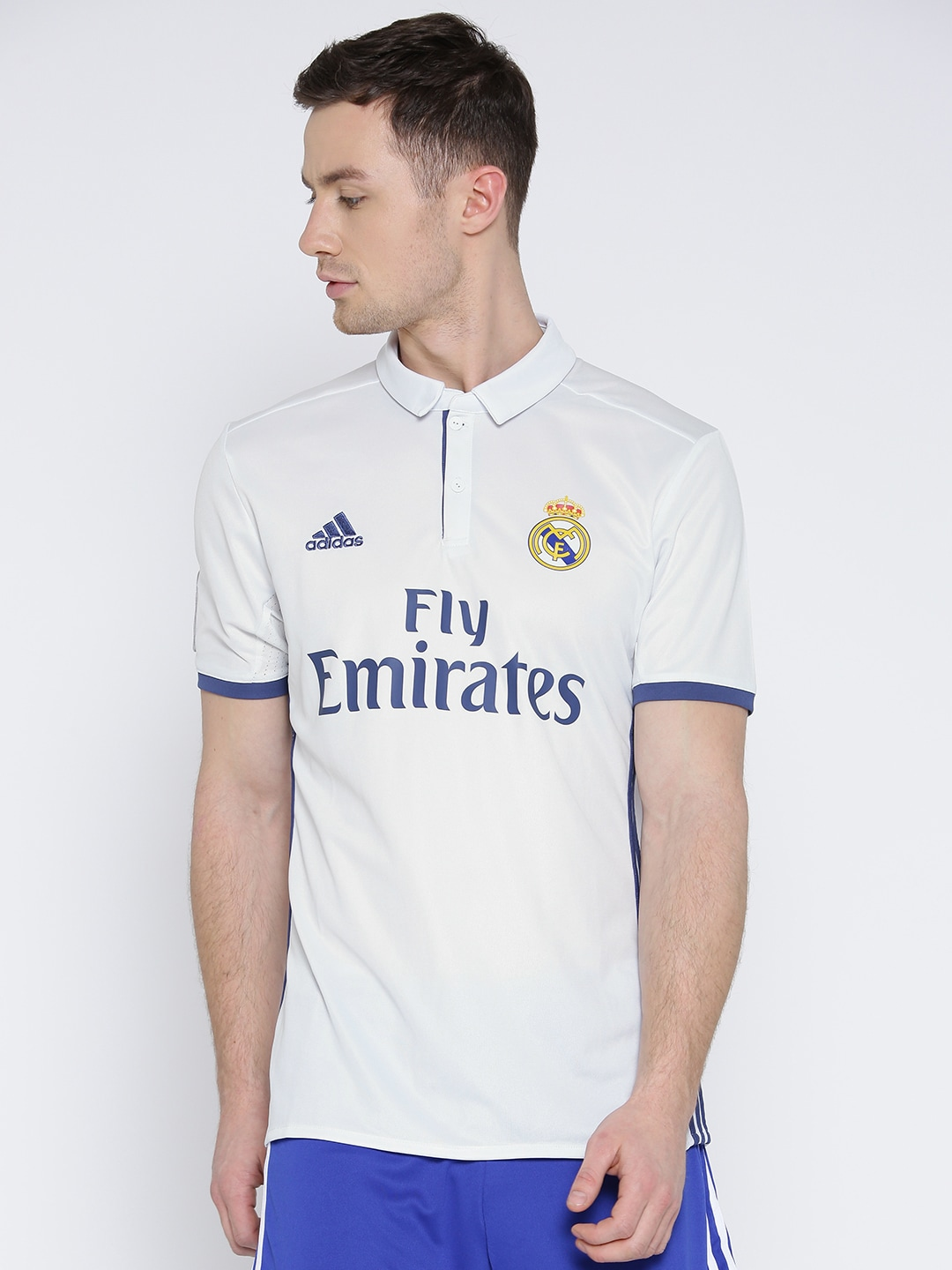 online store 7334c 41fe4 ADIDAS Men White H LS Real Madrid F.C. Printed Polo Collar Jersey