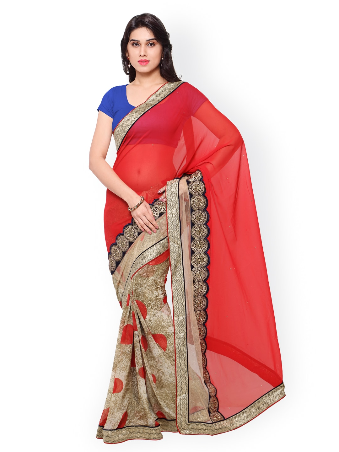 subhash sarees Red & Beige Embroidered Chiffon & Georgette Embellished Saree