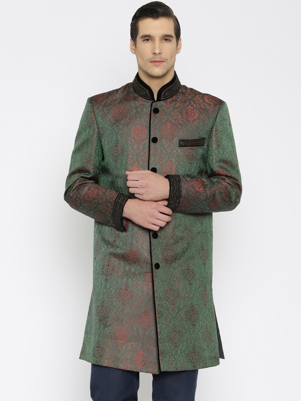 Raymone Ethnix Green Embellished Sherwani