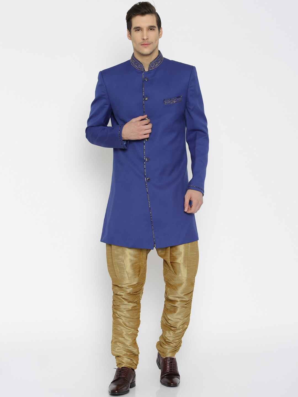 Raymond Ethnix Blue & Gold-Toned Sherwani
