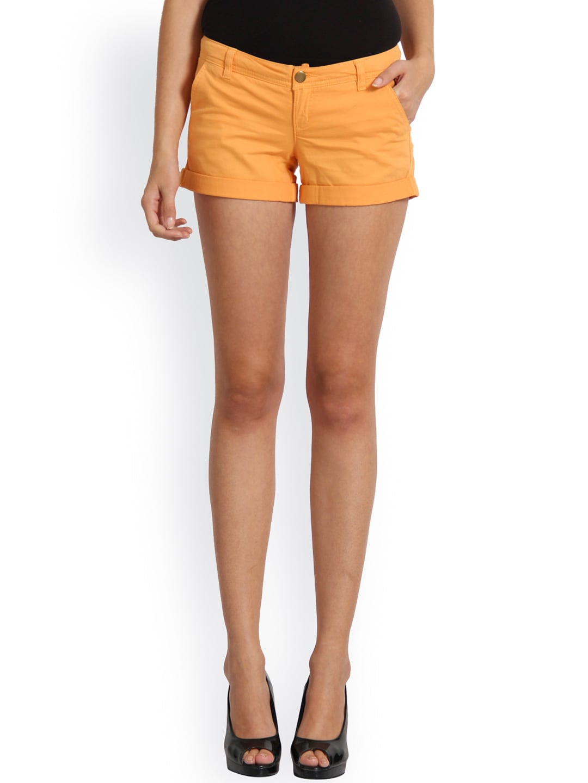 Alibi Women Orange Solid Regular Fit Hot Pants