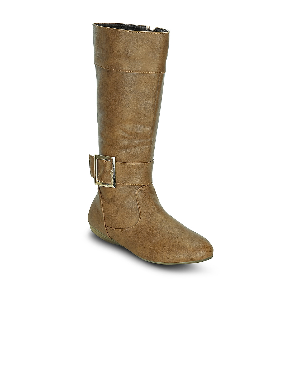 Kielz Women Brown Solid High-Top Flat Boots