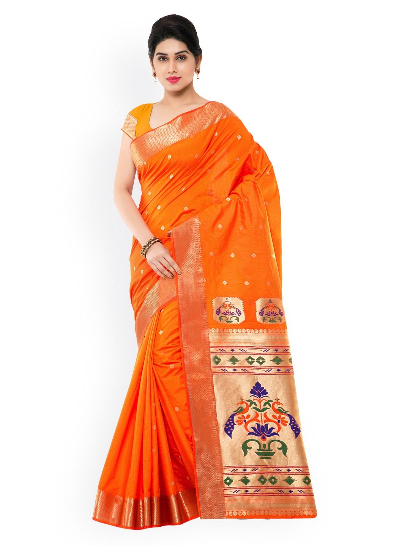 Varkala Silk Sarees Orange Paithani Jacquard & Art Silk Traditional Saree