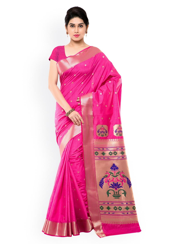 Varkala Silk Sarees Pink Paithani Jacquard & Art Silk Traditional Saree