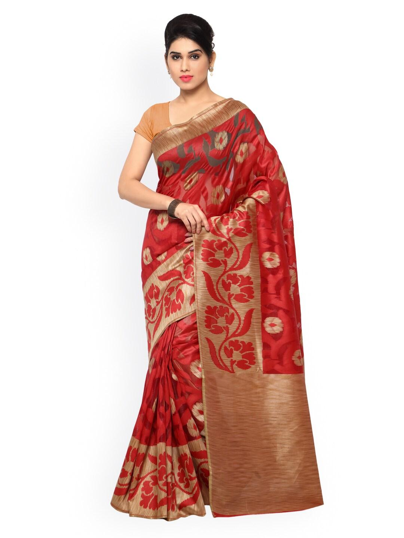 Varkala Silk Sarees Red & Beige Banarasi Silk & Jacquard Traditional Saree