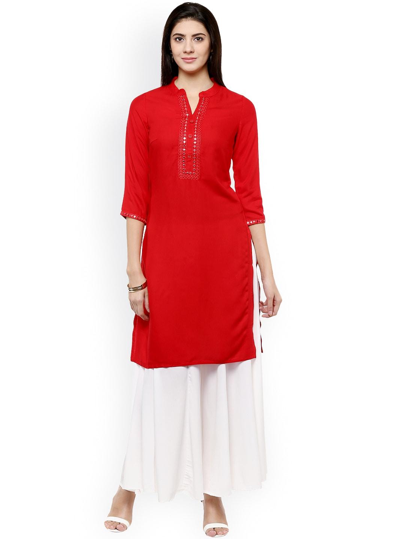 Avaana Women Red Solid Pakistani Style Kurta
