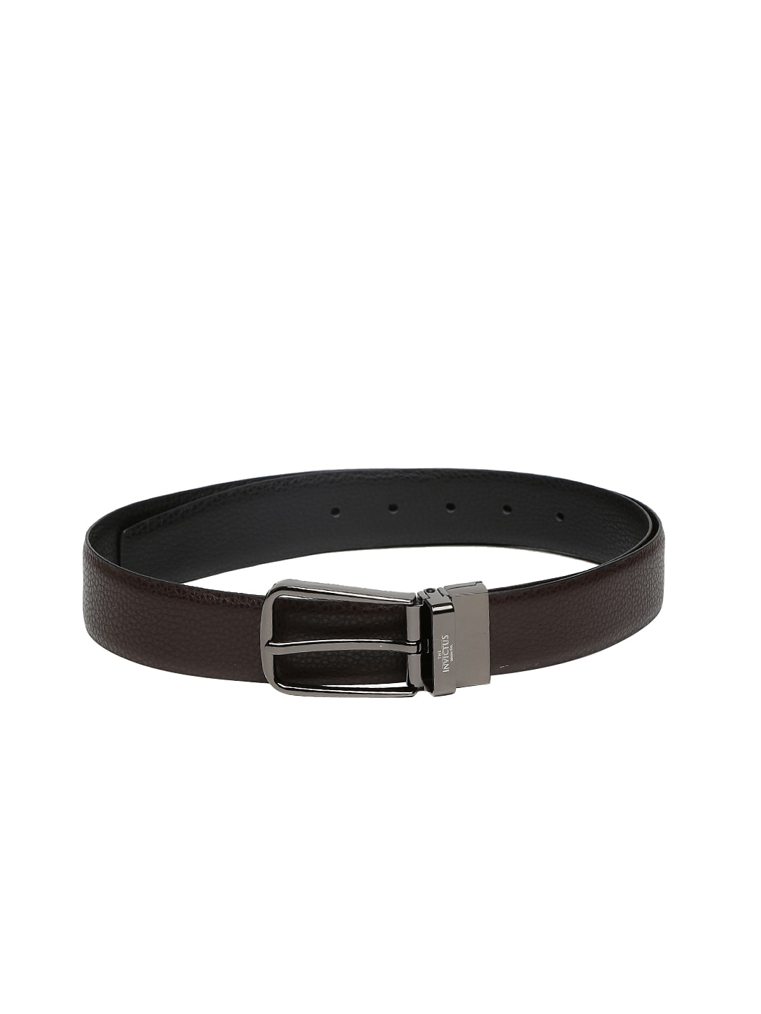 INVICTUS Men Black & Brown Leather Reversible Belt