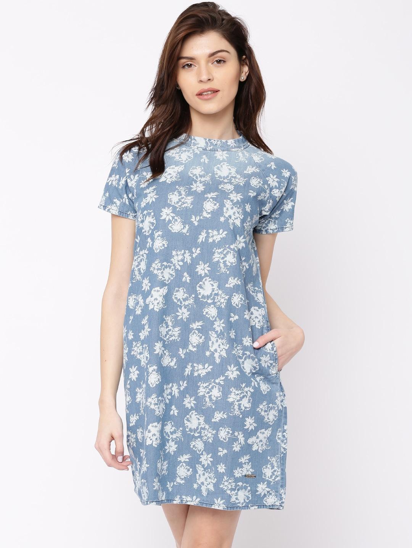 Pepe Jeans Women Blue Floral Printed A-Line Denim Dress