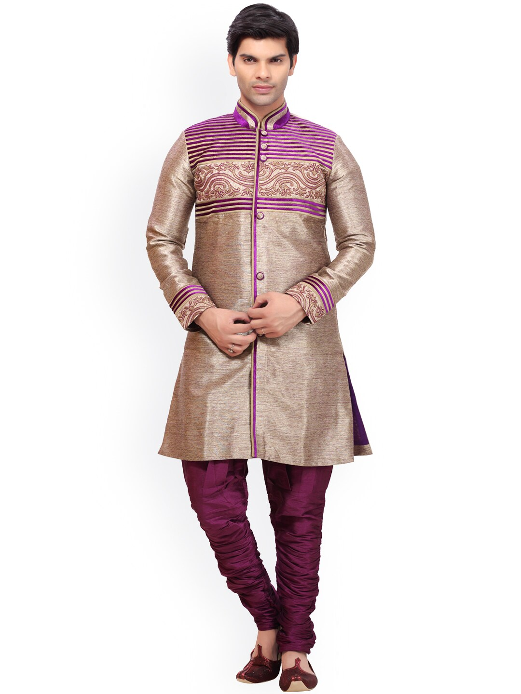 RG DESIGNERS Muted Gold-Toned & Magenta Embroidered Sherwani