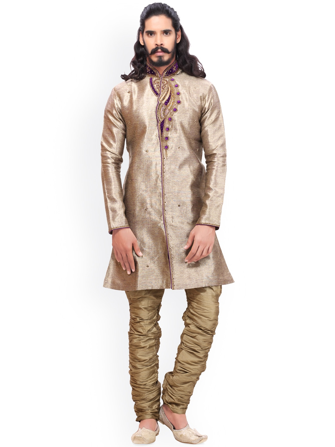 RG DESIGNERS Muted Gold-Toned & Brown Embroidered Sherwani