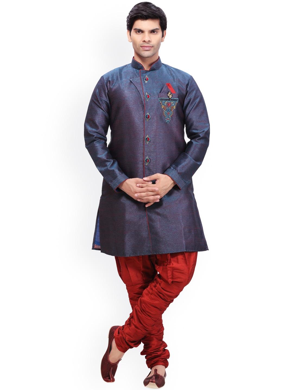 RG DESIGNERS Blue & Red Embroidered Sherwani