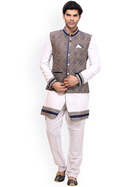 RG DESIGNERS White & Blue Sherwani