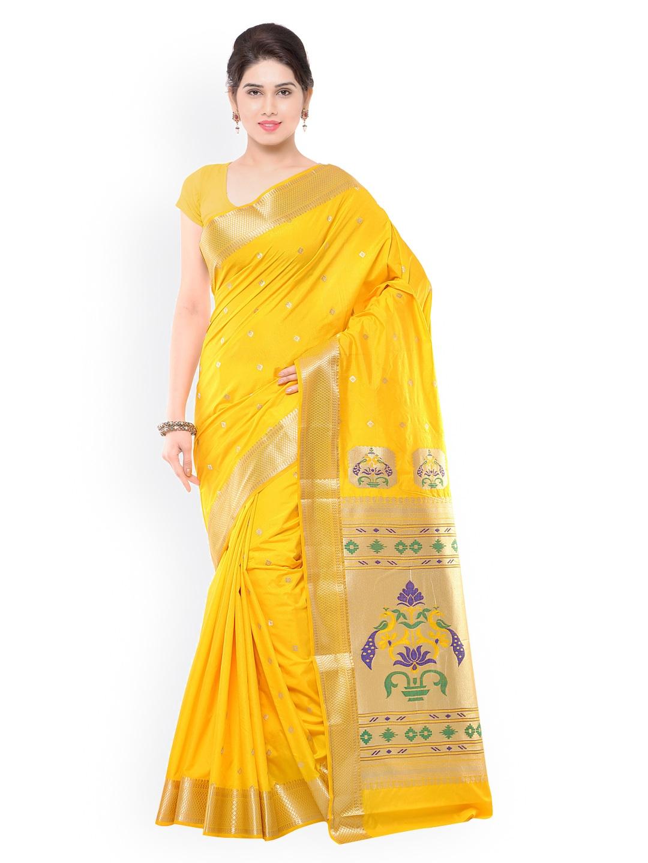Varkala Silk Sarees Yellow Art Silk Paithani Traditional Saree