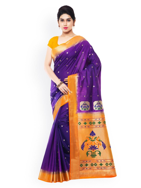 Varkala Silk Sarees Purple & Orange Paithani Art Silk Traditional Saree