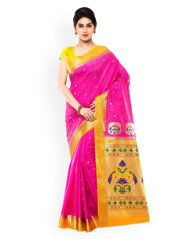 Varkala Silk Sarees Pink Paithani Art Silk Traditional Saree