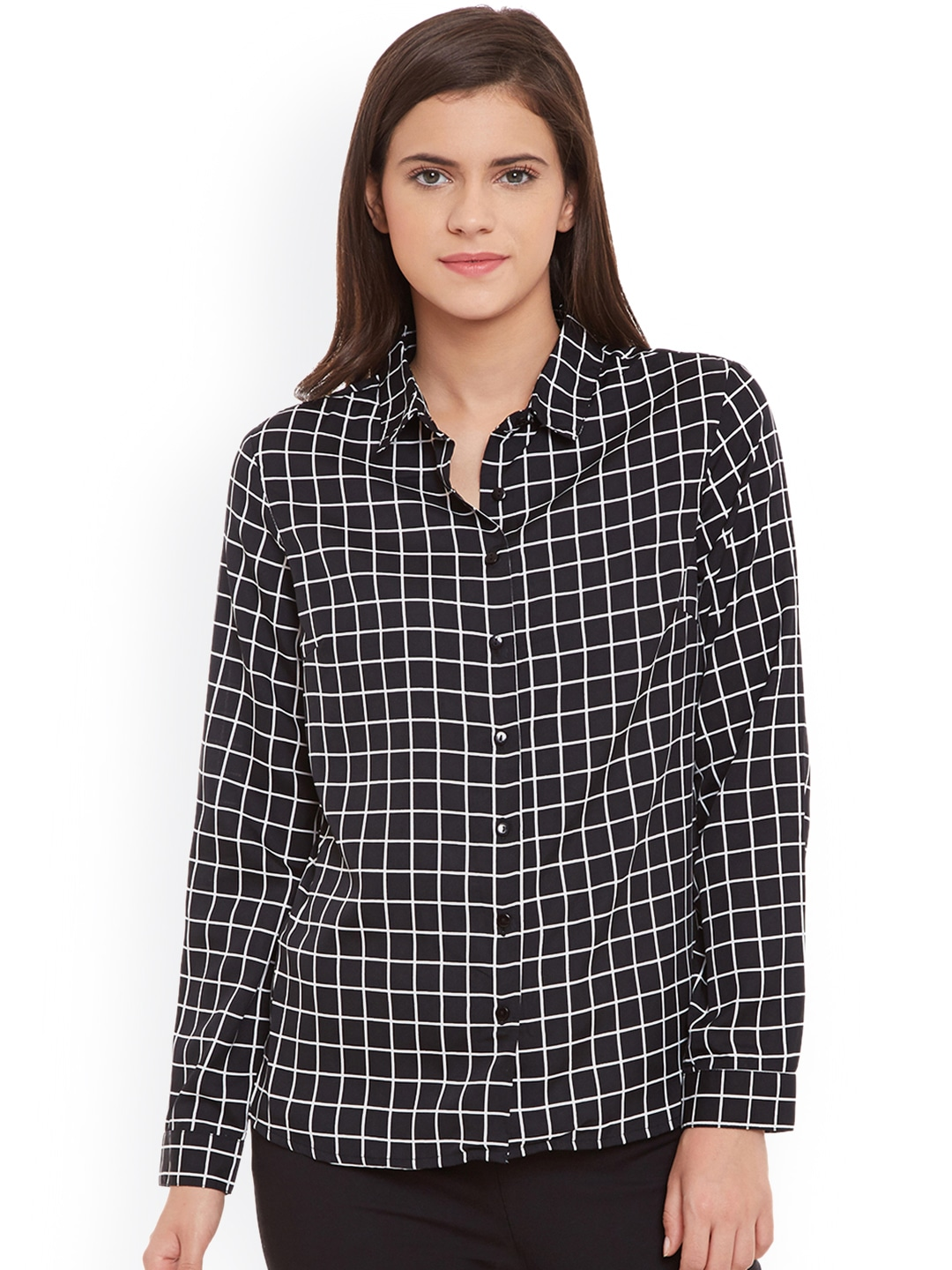 STREET 9 Women Black Classic Fit Checked Casual Shirt