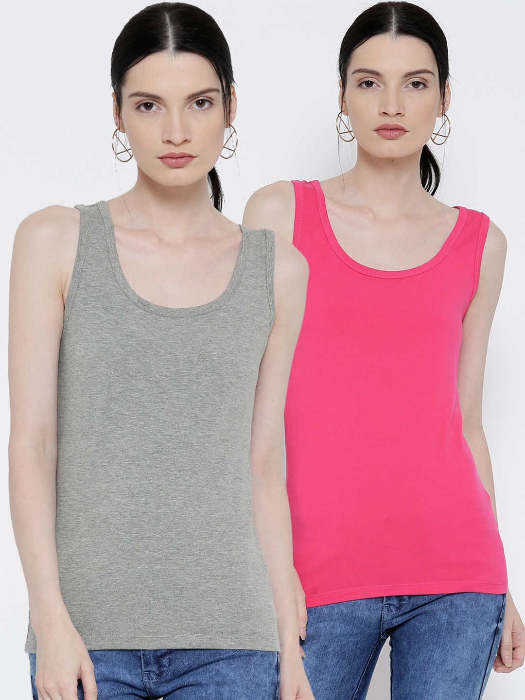 Rattrap Women Pack of 2 Solid Tank Tops