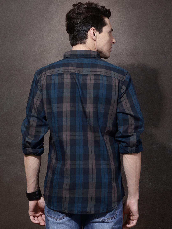 Shirt design of man - Buy Roadster Men Navy Grey Checked Casual Shirt Shirts For Men Myntra