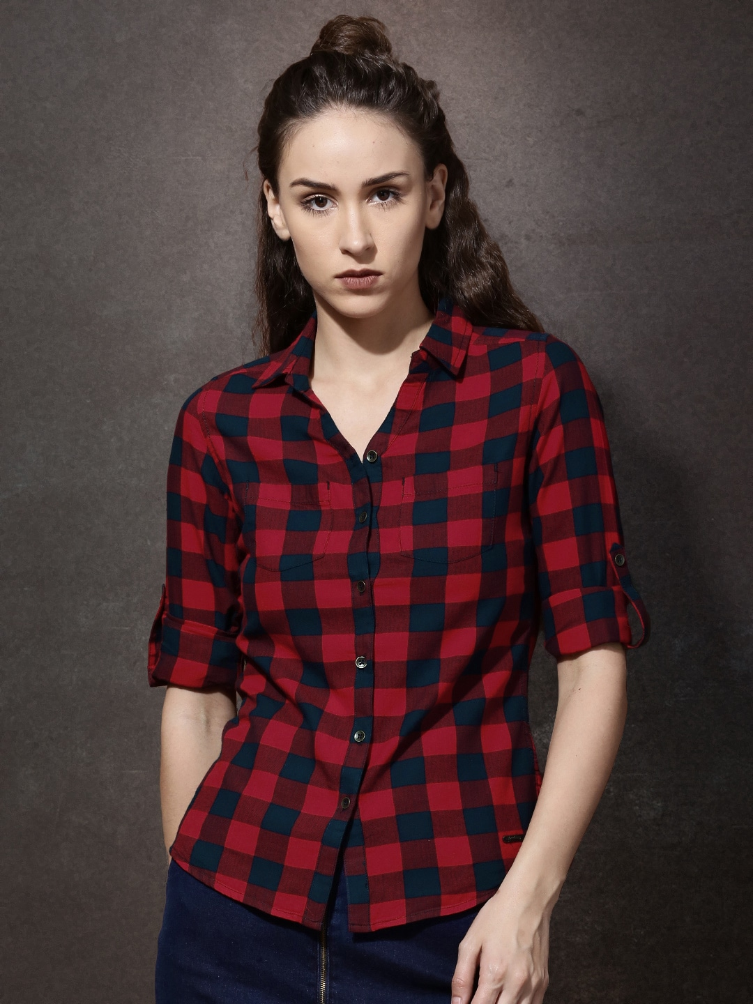 a3f75b9bd96 Women Red Check Shirts - Buy Women Red Check Shirts online in India