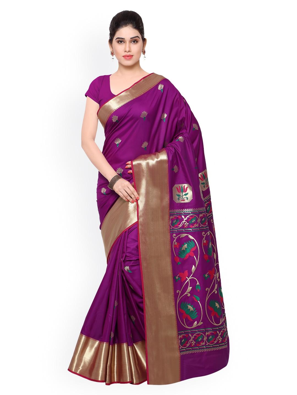 Varkala Silk Sarees Purple Kanjeevaram Art Silk Traditional Saree