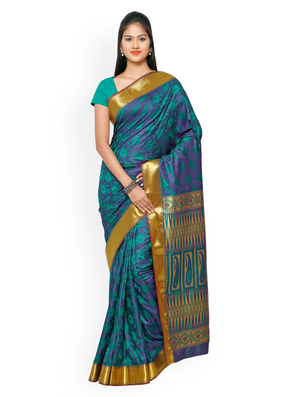Varkala Silk Sarees Green & Blue Kanjeevaram Art Silk Traditional Saree
