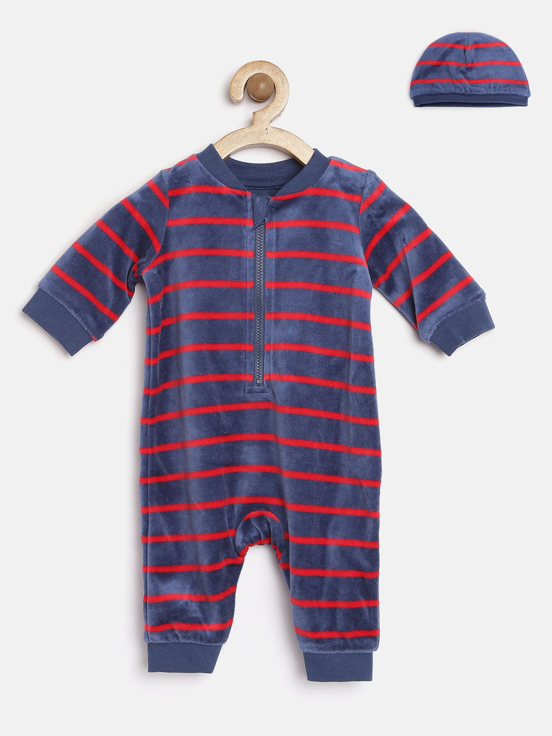 mothercare Infant Boys Navy Striped Romper with Beanie