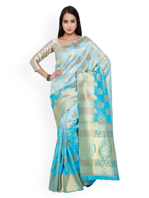 Varkala Silk Sarees Turquoise Blue Kanchipuram Art Silk Traditional Saree