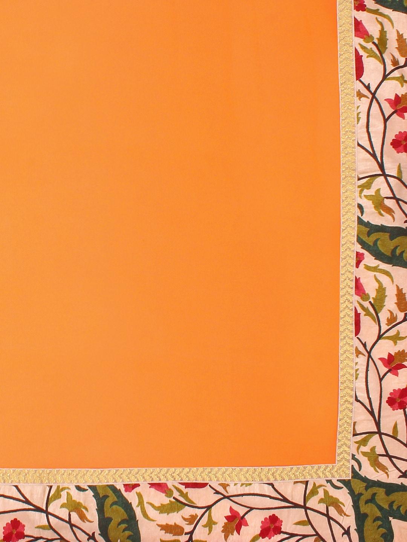 Silk Bazar Orange Faux Georgette Saree