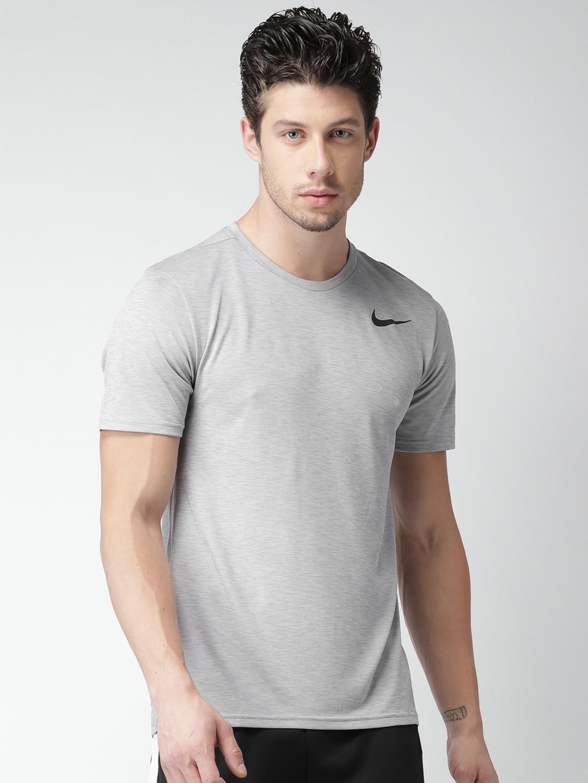 Nike Men Grey Selfdesign Round Neck As M Nk Brthe Drifit T
