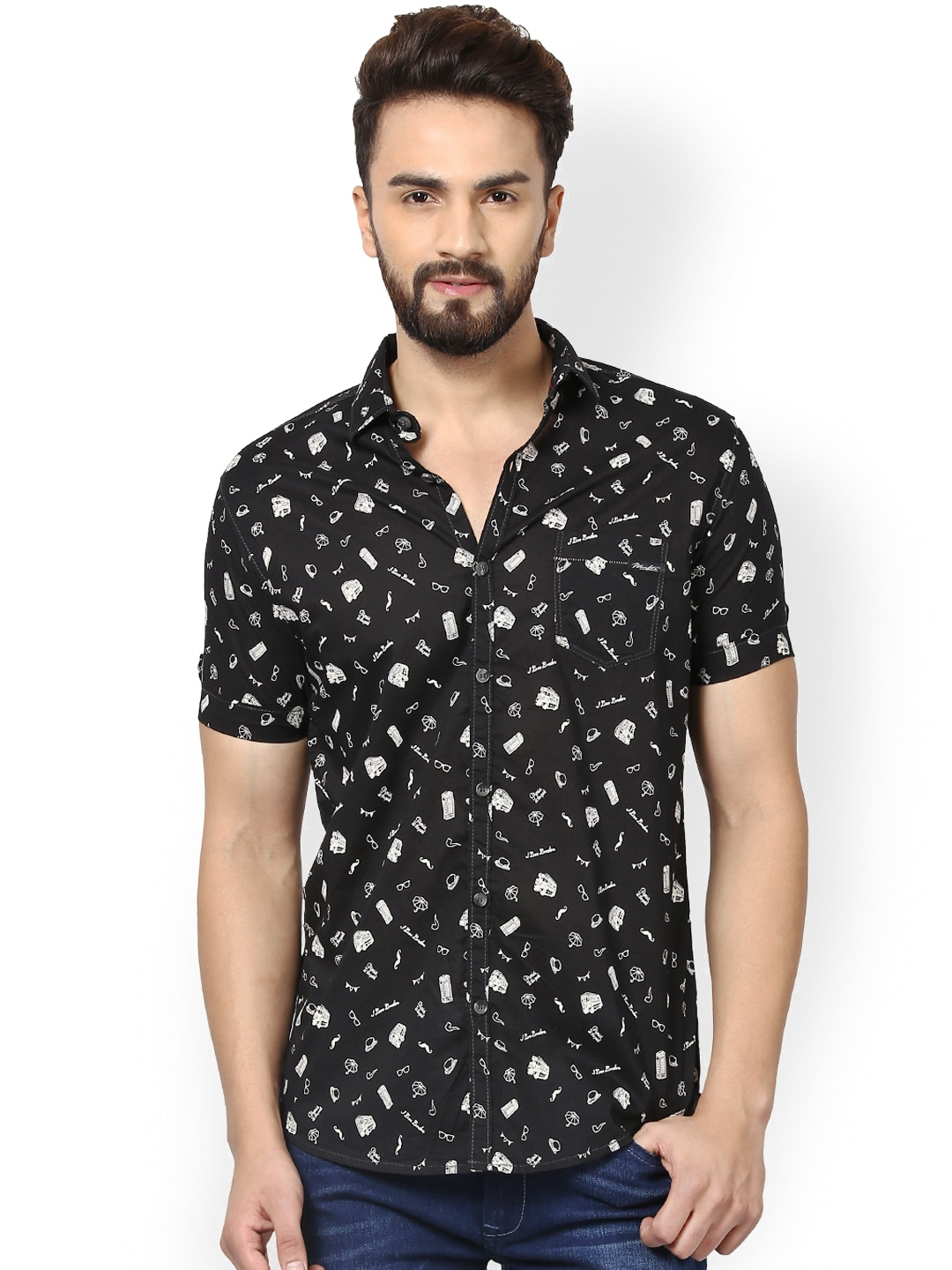Mufti Men Black Printed Slim Fit Casual Shirt