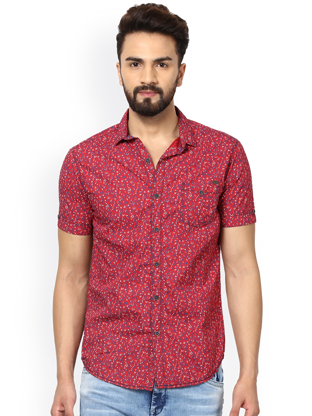 Mufti Men Red Slim Fit Printed Casual Shirt