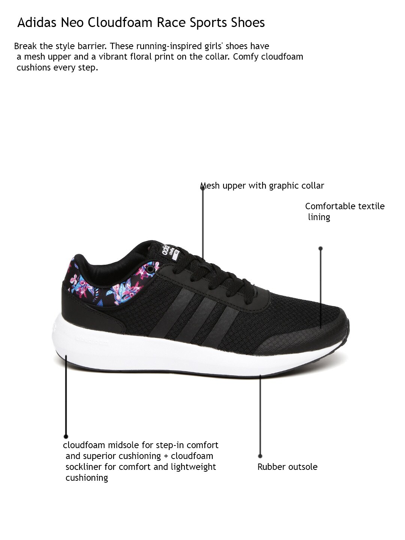Adidas Neo Cloudfoam Race Women&s Floral Print Sneakers