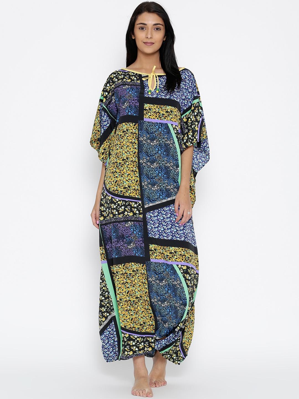 The Kaftan Company Multicoloured Floral Print Kaftan Maxi Nightdress LW_COZYFT027