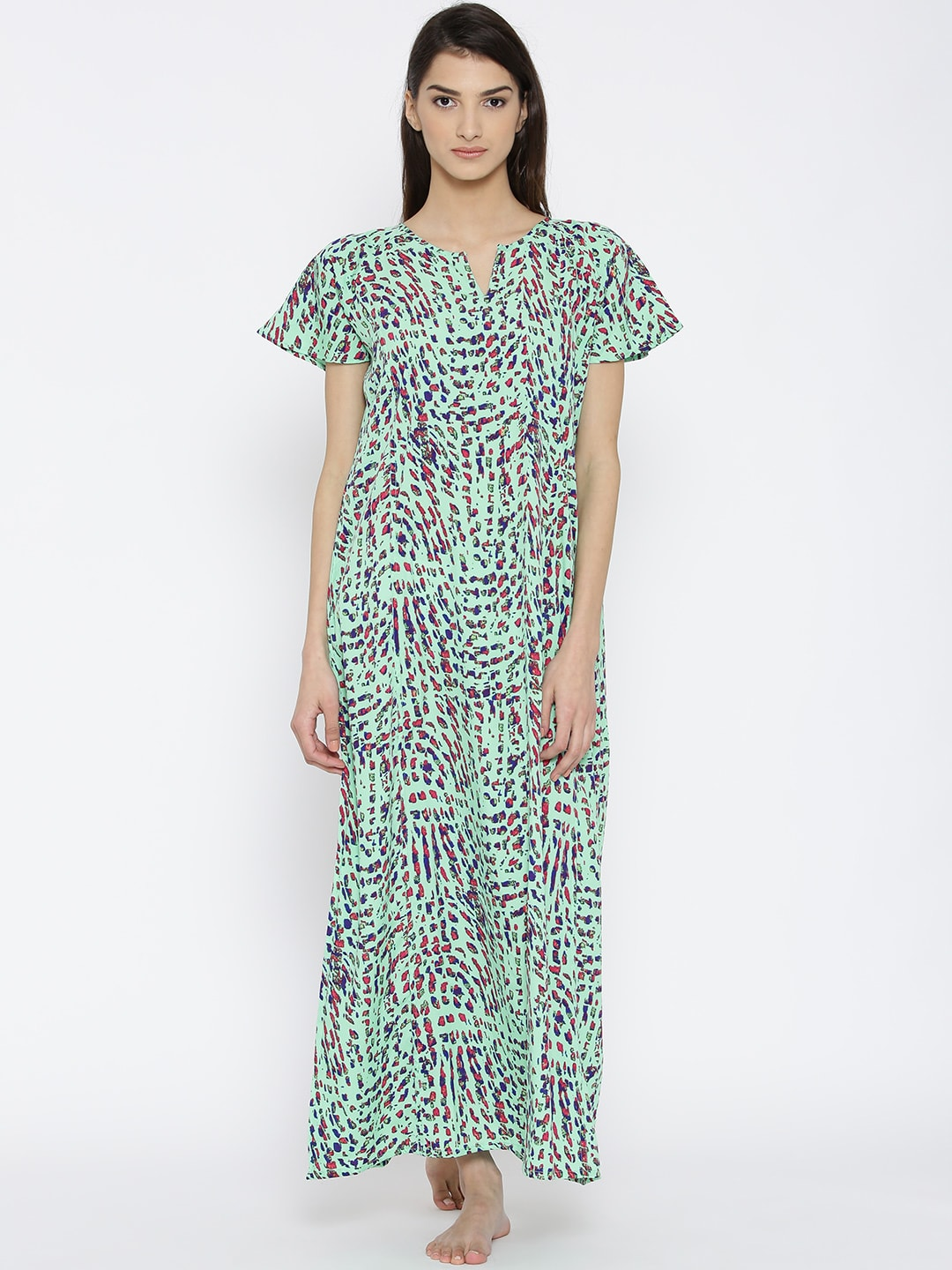 The Kaftan Company Green Printed Maxi Nightdress NT_SLIMFT003