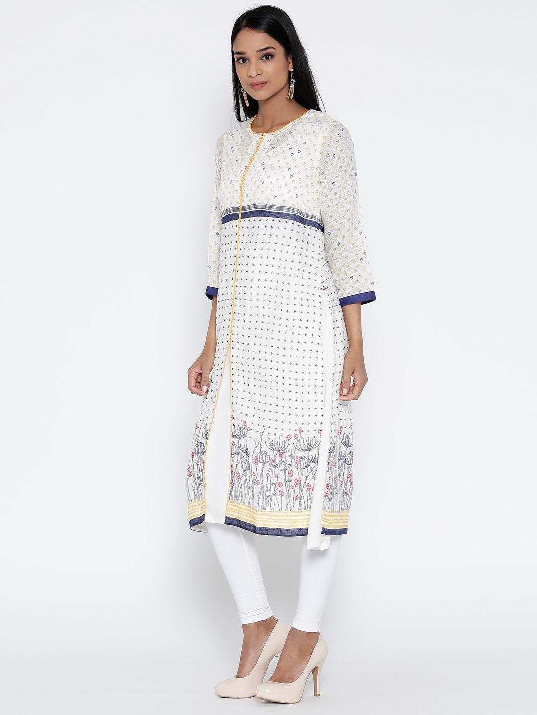 Biba Women Off-White Quirky Print Layered A-Line Kurta